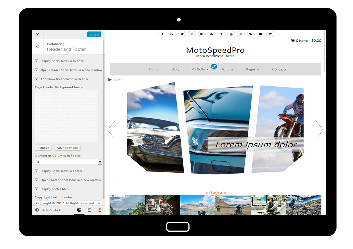 MotoSpeedPro Customize: Header and Footer