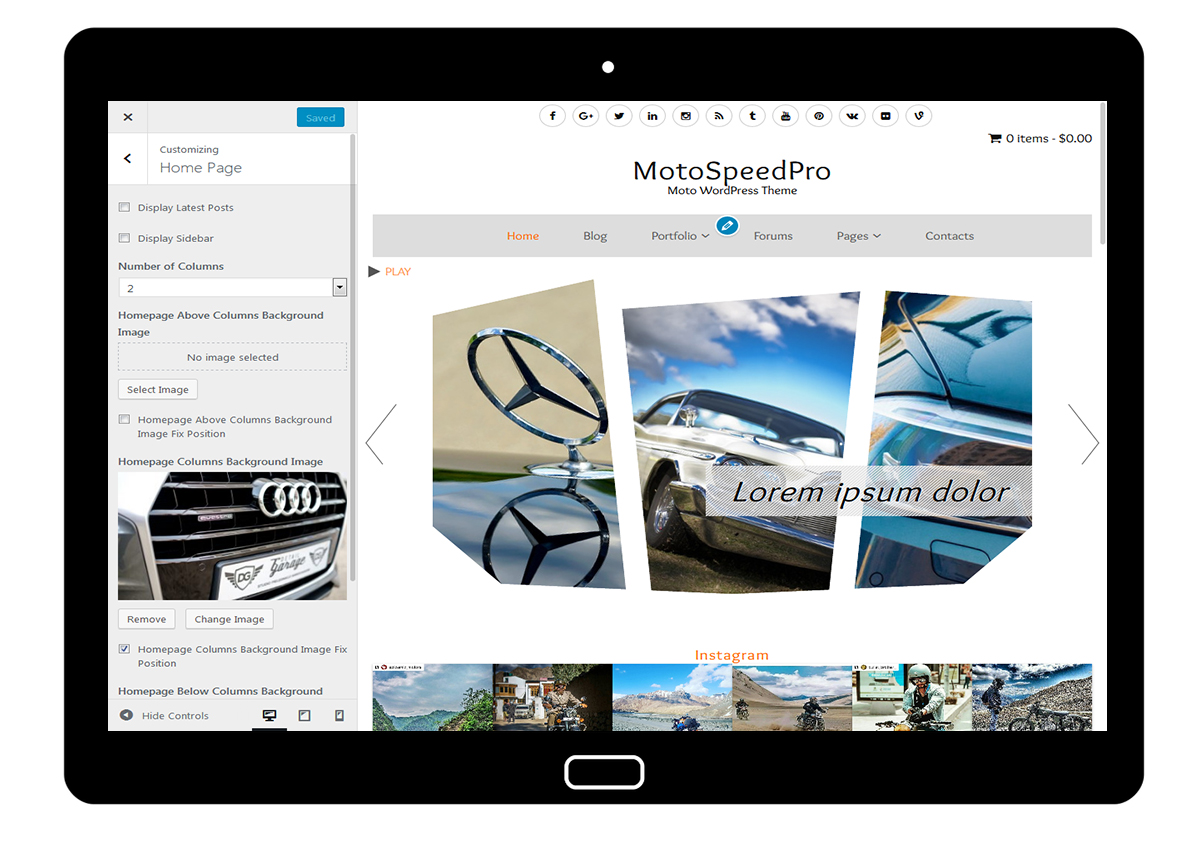 MotoSpeedPro Customize: Home Page