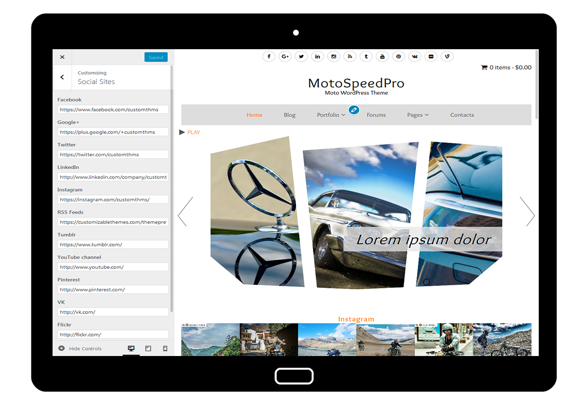 MotoSpeedPro Customize: Social Sites
