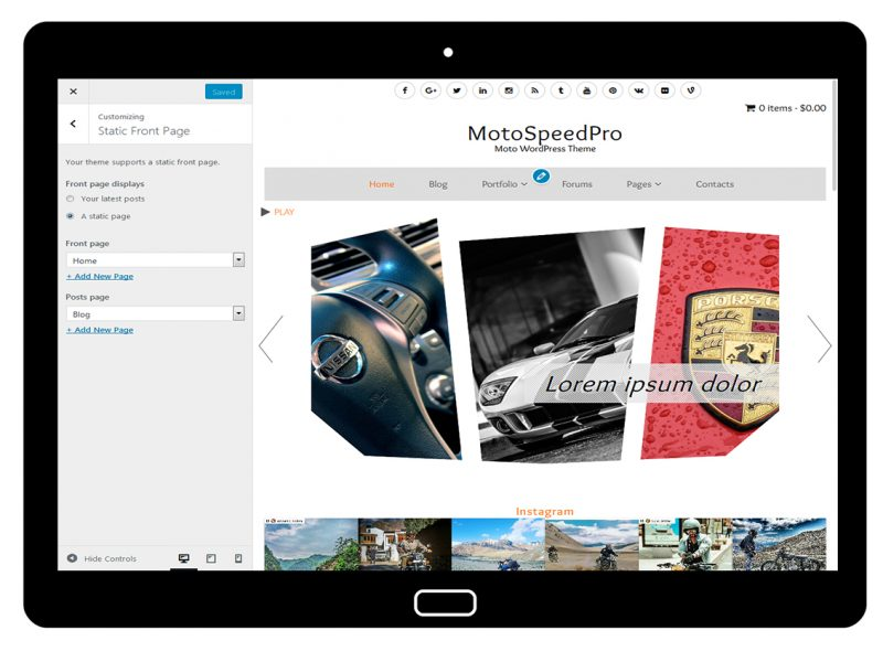 MotoSpeedPro Customize: Static Front Page