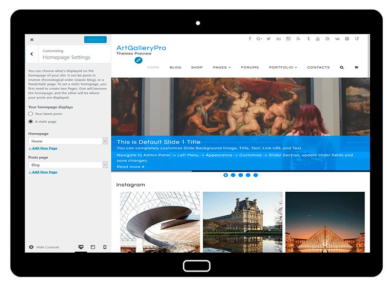 customizablethemes-tablet-mockup-black-ArtGalleryPro-Customizing-HomePageSettings
