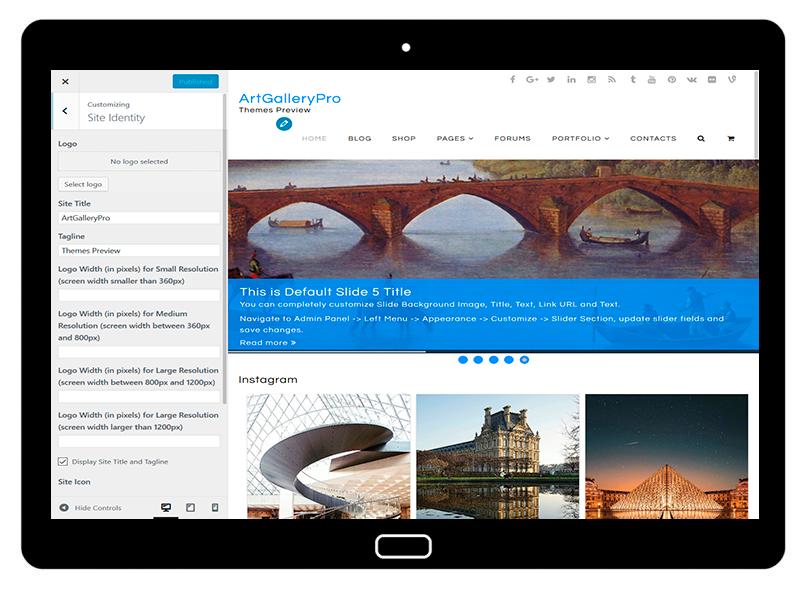 customizablethemes-tablet-mockup-black-ArtGalleryPro-Customizing-SiteIdentity