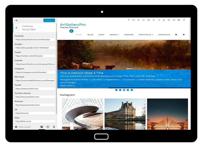 customizablethemes-tablet-mockup-black-ArtGalleryPro-Customizing-Social-Sites
