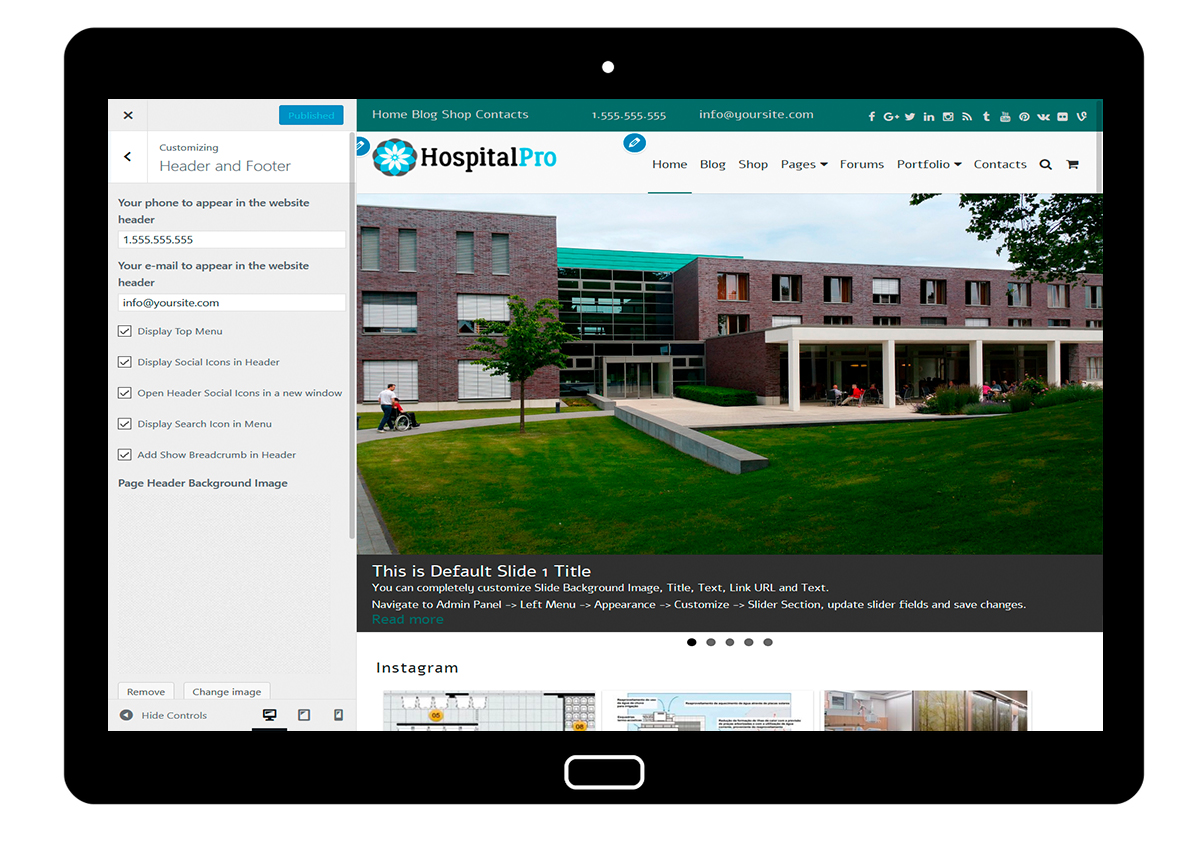 HospitalPro-customizing-header-and-footer