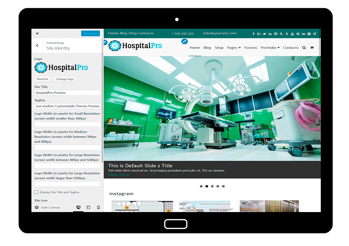 HospitalPro-customizing-site-identity
