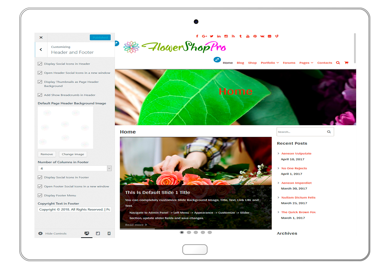 flowershoppro-customizing-header-and-footer