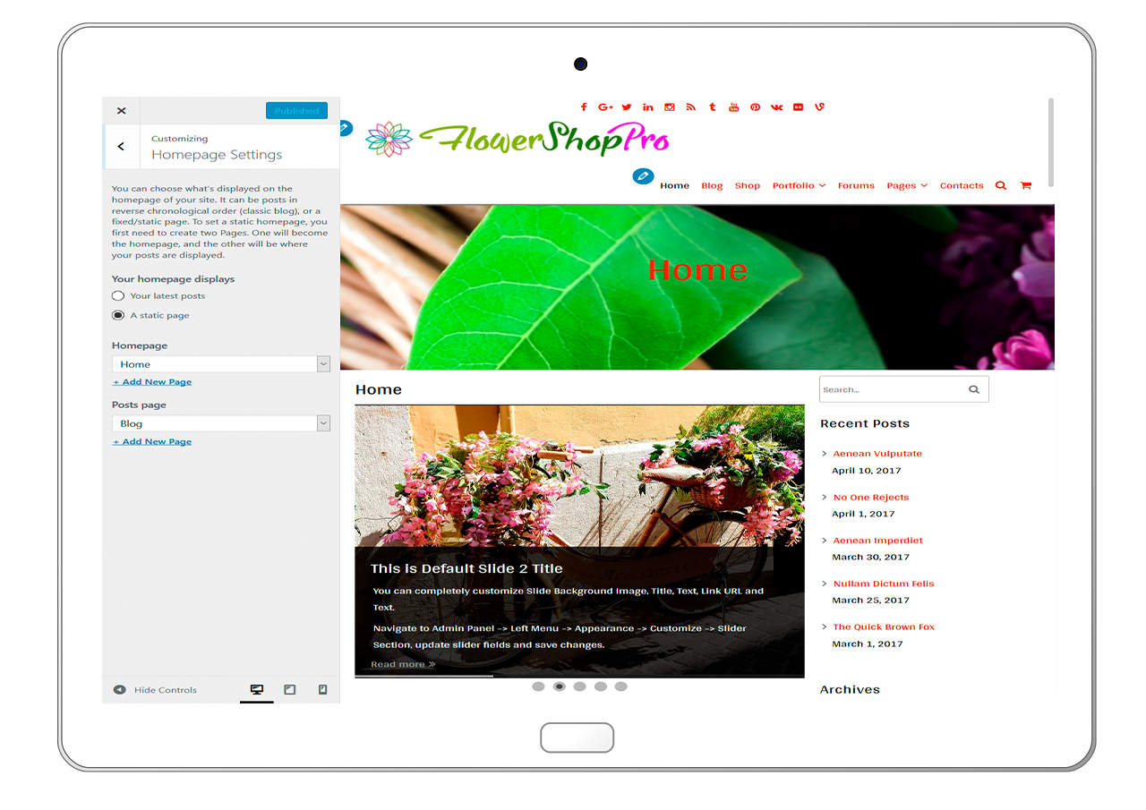 flowershoppro-customizing-homepage-settings