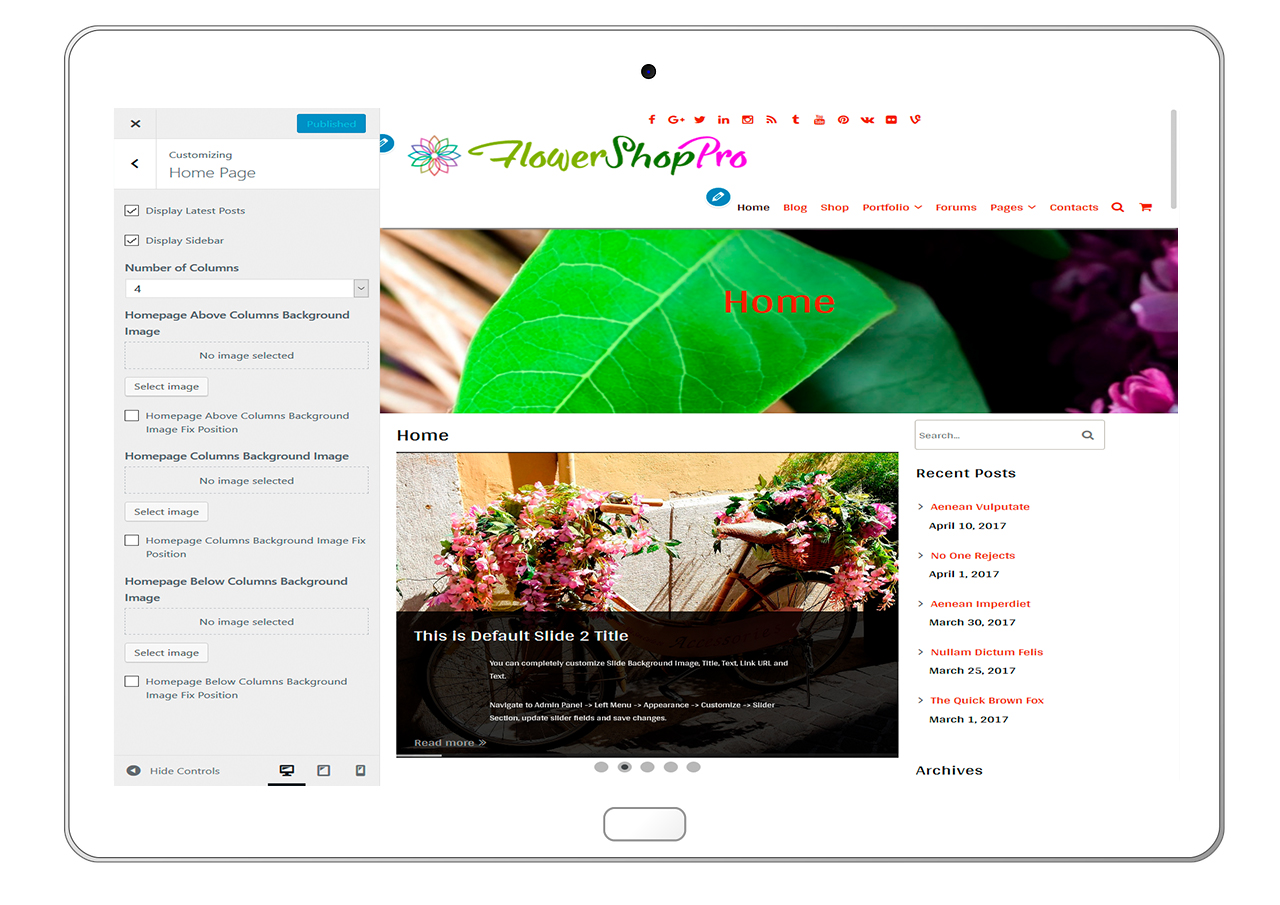 flowershoppro-customizing-homepage