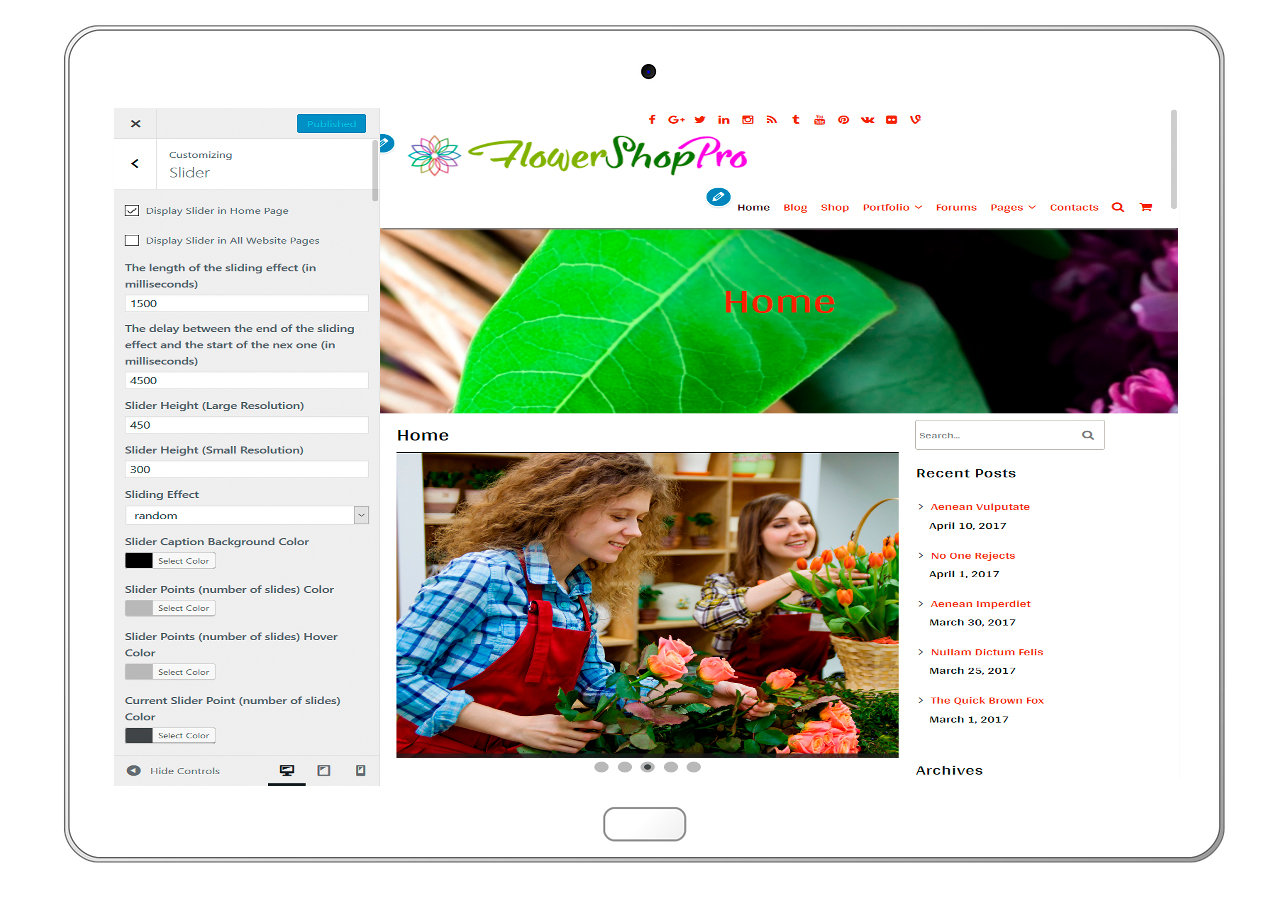 flowershoppro-customizing-slider