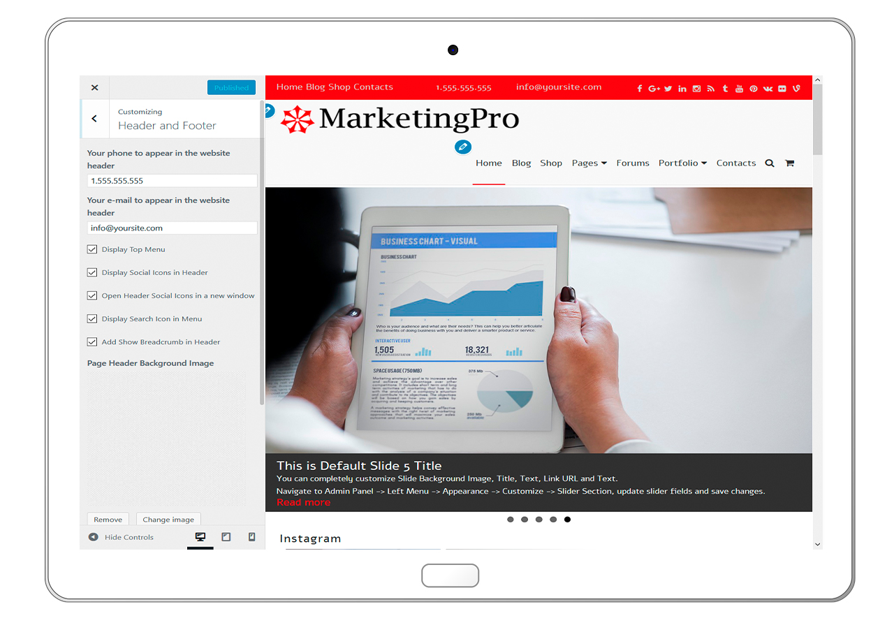MarketingPro-customizing-header-and-footer