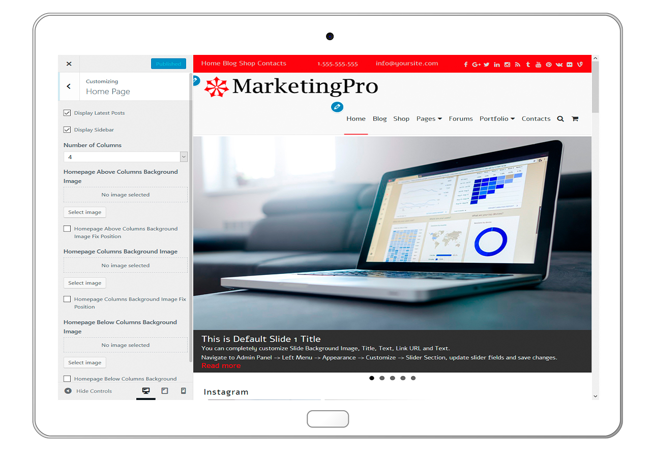 MarketingPro-customizing-homepage