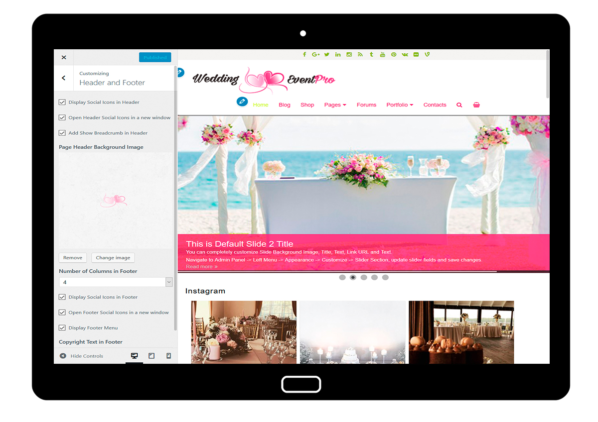 WeddingEventPro-customizing-header-and-footer