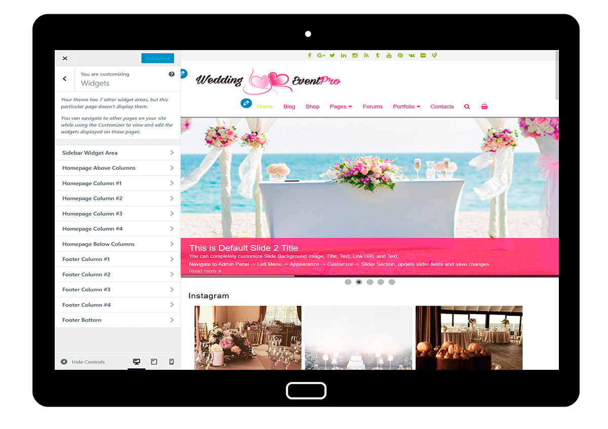 WeddingEventPro-customizing-widgets
