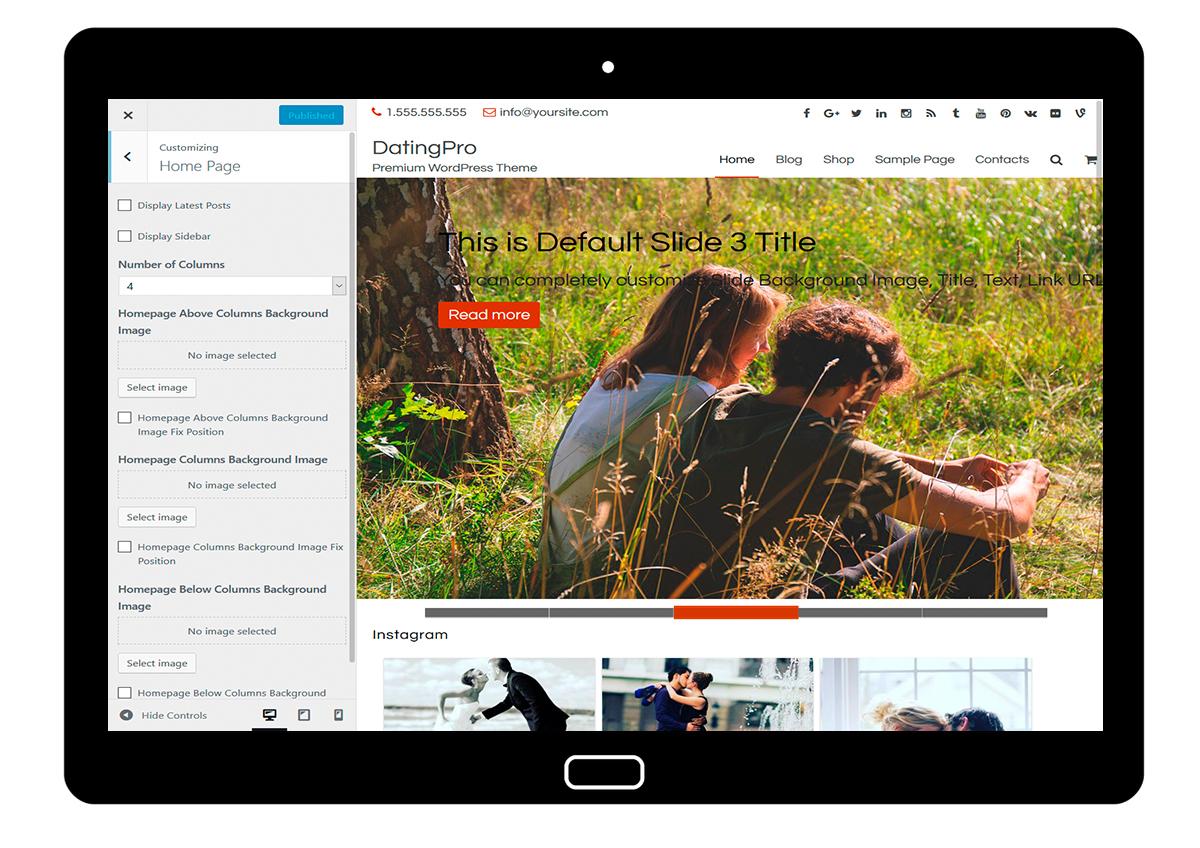 DatingPro-customizing-homepage