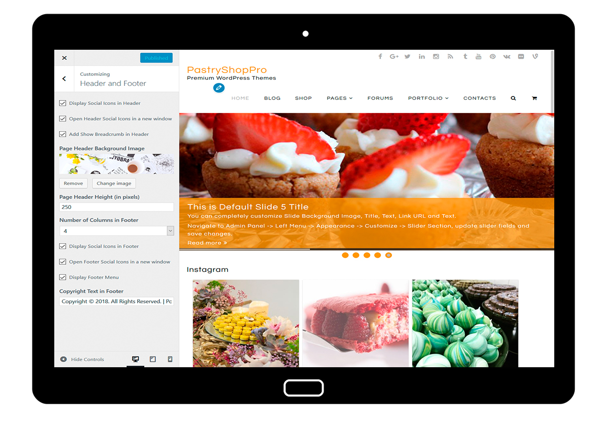 PastryShopPro-customizing-header-and-footer