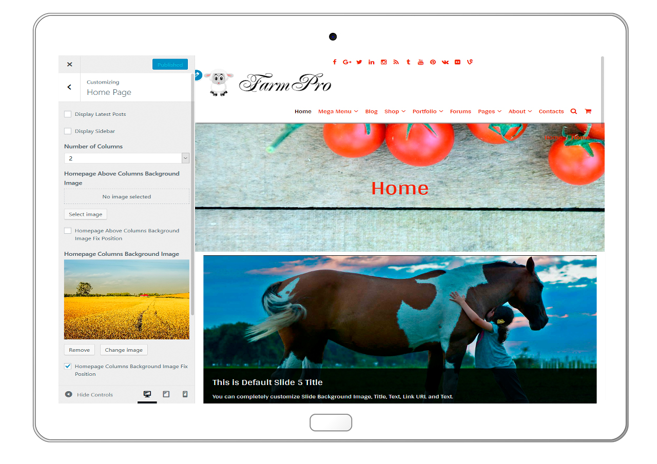 FarmPro-customizing-homepage
